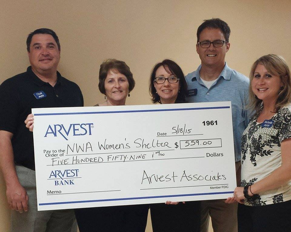 "Arvest Bank Directed Their ""Casual For A Cause"" Dollars To The NWA Women's Shelter"